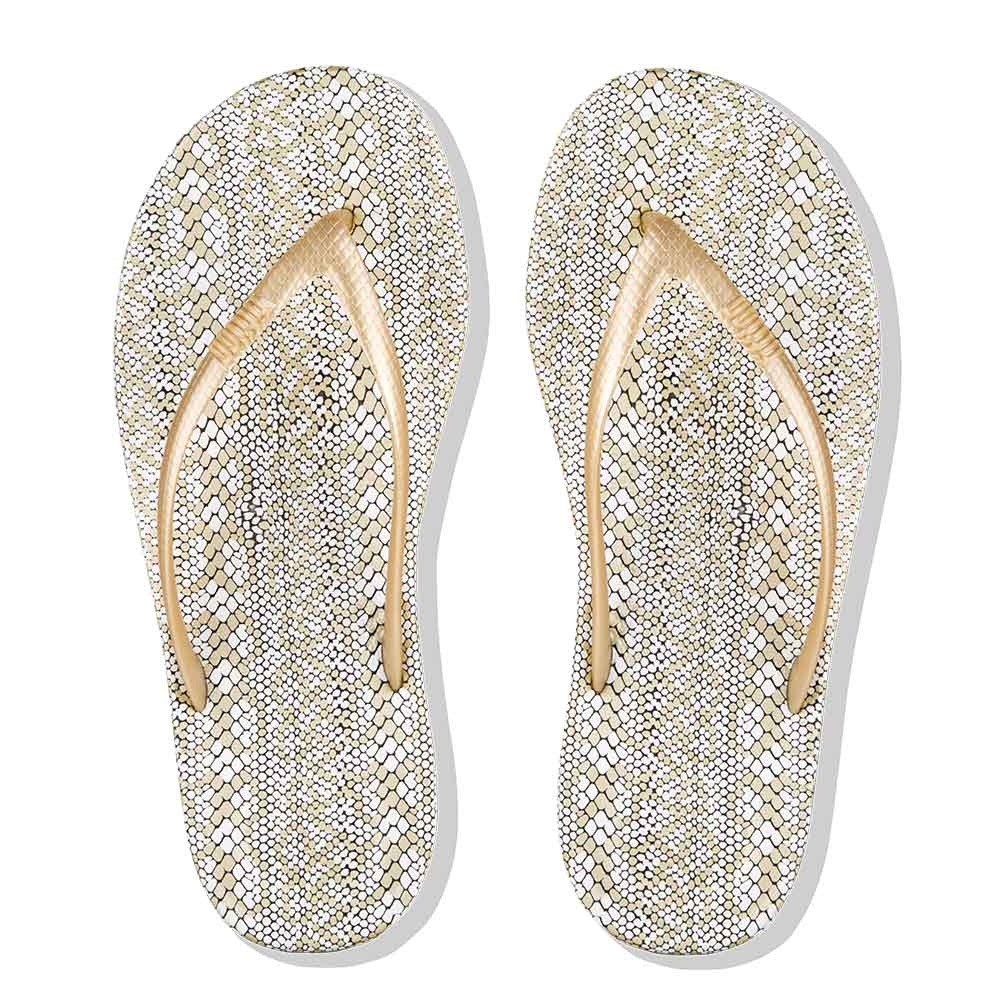 Iqushion Ergonomic Flip Flops Snake Print Fitflop