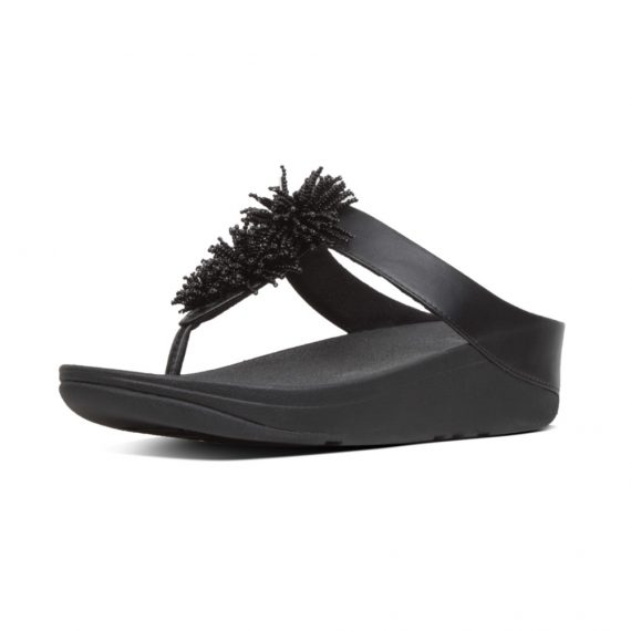 FINO-BEAD-POMPOM-TOE-POST-BLACK_T19-001