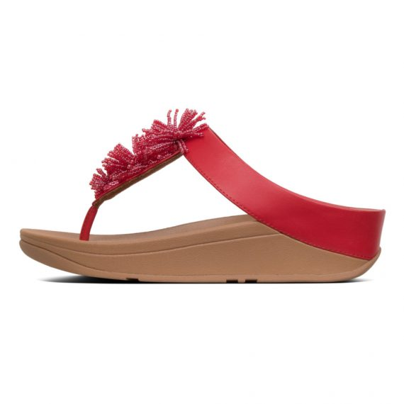 FINO-BEAD-POMPOM-TOE-POST-ADRENALINE-RED