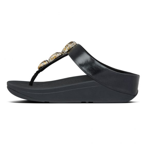 FINO-METALLIC-FLECK-STONE-TOE-THONGS-ALL-BLACK