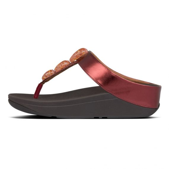 FINO-METALLIC-FLECK-STONE-TOE-THONGS-DARK-RED