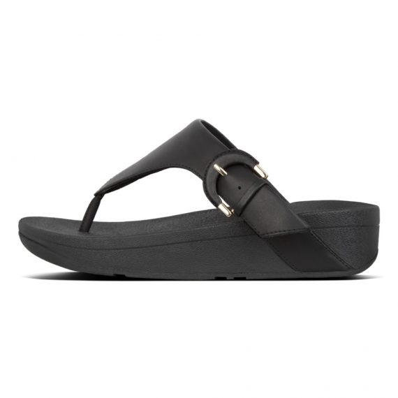 LOTTIE-BUCKLE-TOE-THONGS-BLACK