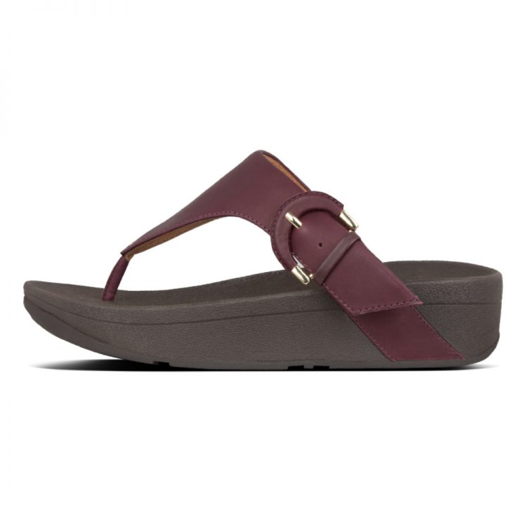 LOTTIE-BUCKLE-TOE-THONGS-LINGONBERRY