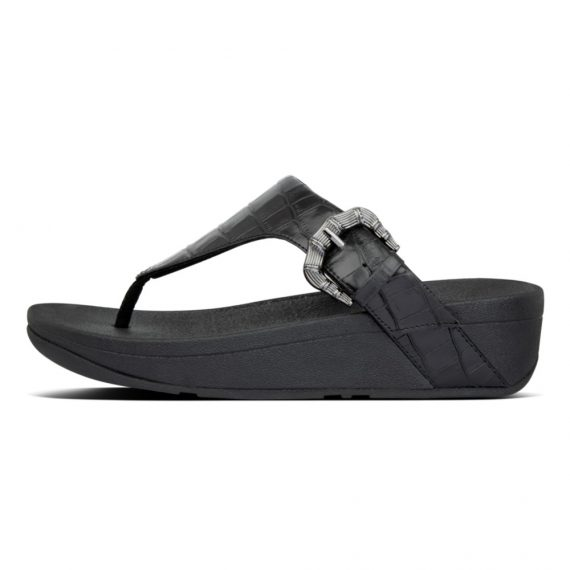 LOTTIE-CROCO-TOE-THONGS-ALL-BLACK