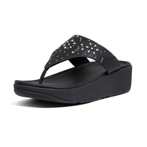 MYLA-FLORAL-STUD-TOE-THONGS-ALL-BLACK_BI7-090