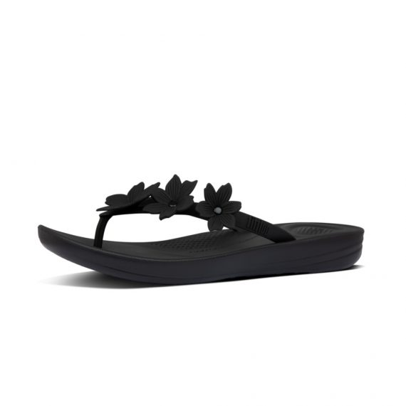 IQUSHION-FLORAL-FLIP-FLOPS-ALL-BLACK_BD5-090